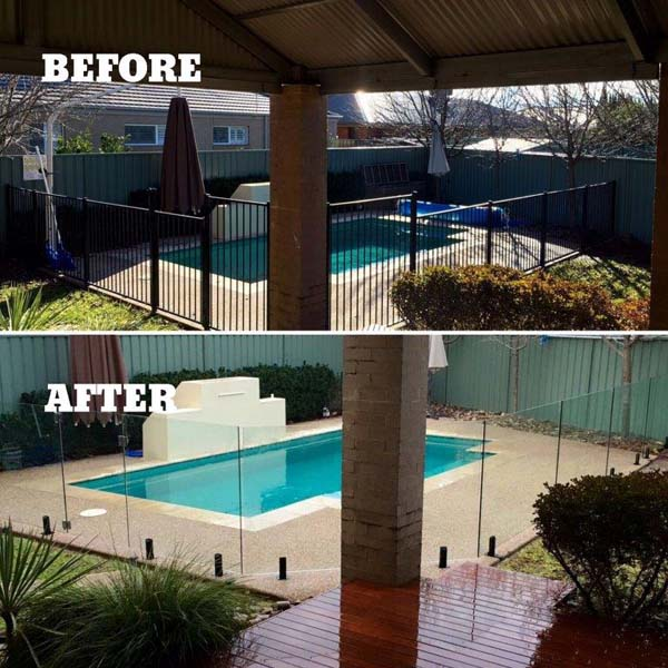 Albury pool fencing before and after